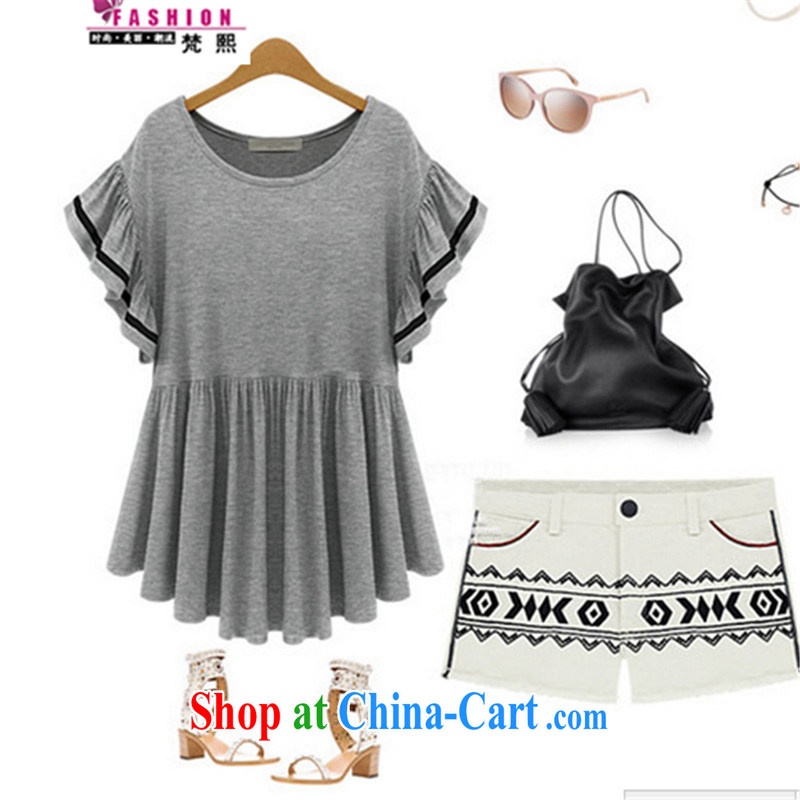 Vincent van Gogh-hee and indeed increase, women with thick mm summer new, loose video thin flouncing cuff small skirt with T-shirt girls short-sleeved T-shirt light gray XXXXXL 180 - 200 left and right