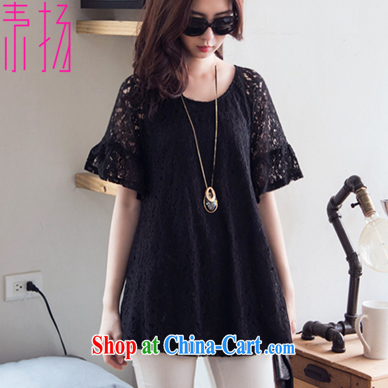 Speakers of the Code's thick MM summer graphics thin round-collar black lace short sleeve short dress black 4 XL
