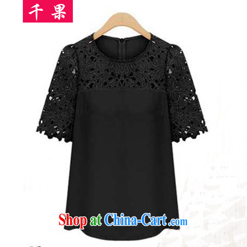 1000 fruit and fat XL girls summer Europe new 200 Jack mm thick very casual solid T-shirt lace stitching graphics thin T-shirt 2038 black 5 XL