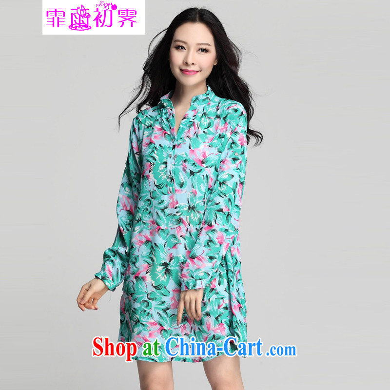 Onpress International Rain underglaze early spring 2015 new larger female 7 stamp duty cuff loose tether creasing snow woven dresses 502 light blue XXXL
