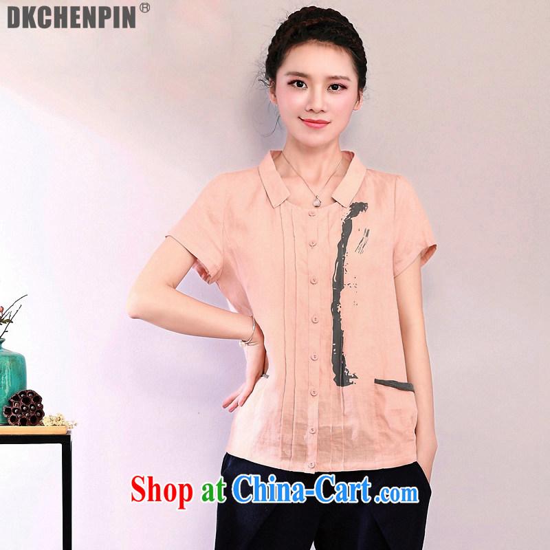 2015 DKchenpin new, Mr Ronald ARCULLI, the ladies cotton shirt the female arts van loose short-sleeve linen shirt women T-shirt orange toner 2 XL