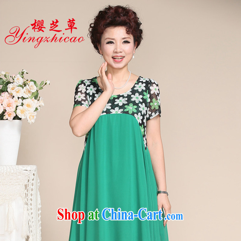 MOM with dresses, older women Summer Snow woven stamp duty stitching large skirts dresses, older dresses summer green 5 XL
