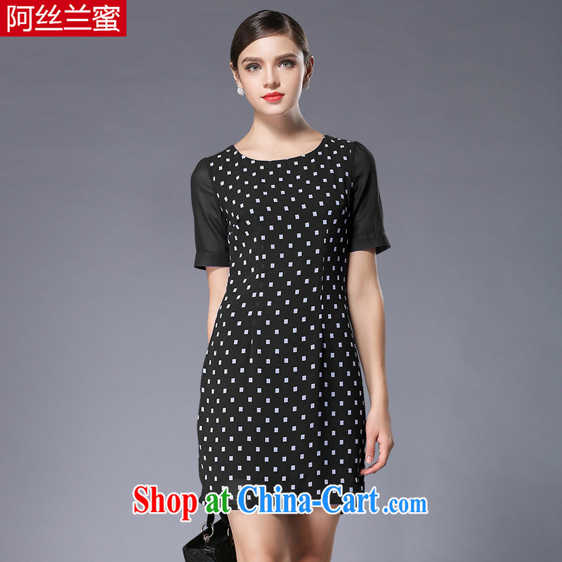 The silk, honey XL girls thick MM graphics thin summer squares stamp beauty dresses ZZ 3357 black 4XL (165 jack - 180 Jack through)