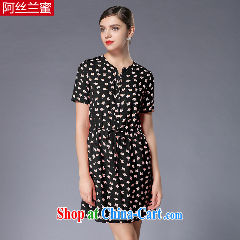 The silk, honey XL girls thick MM graphics thin summer stamp beauty dresses ZZ 3349 black 2 XL (135 jack - 149 Jack through)