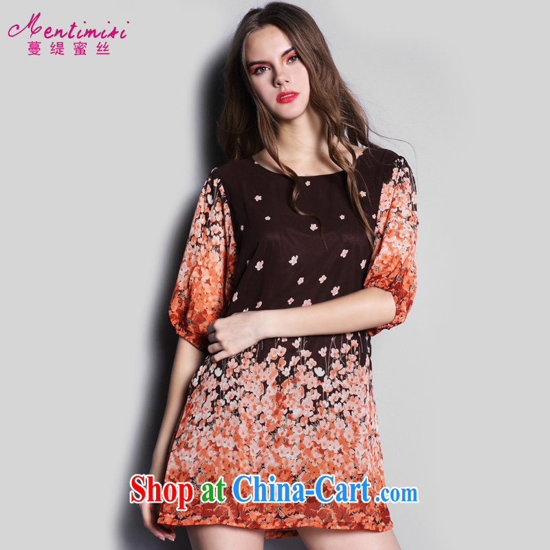 Mephidross economy honey, the European sites in Europe and America, the girl with thick mm summer New floral loose snow woven dresses skirt S 1602 floral orange 5 XL