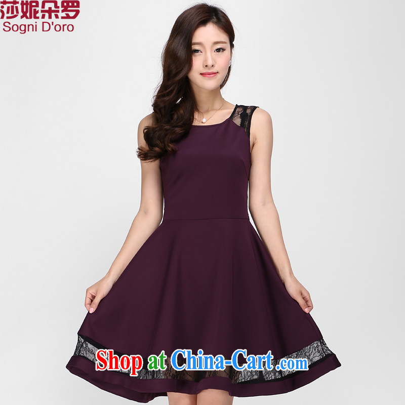 Laurie flower Luo, knitted vests dresses thick sister 2015 summer video thin, long lace dress 1137 purple 5 X top 10 return _20 toll