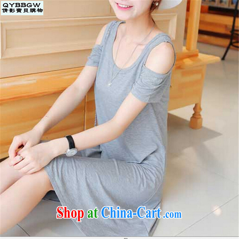 MS ANISSA WONG shadow baby 2015 new Korean relaxed, generation, your shoulders short-sleeved and knee skirt the Code women dresses pre-sale light gray L