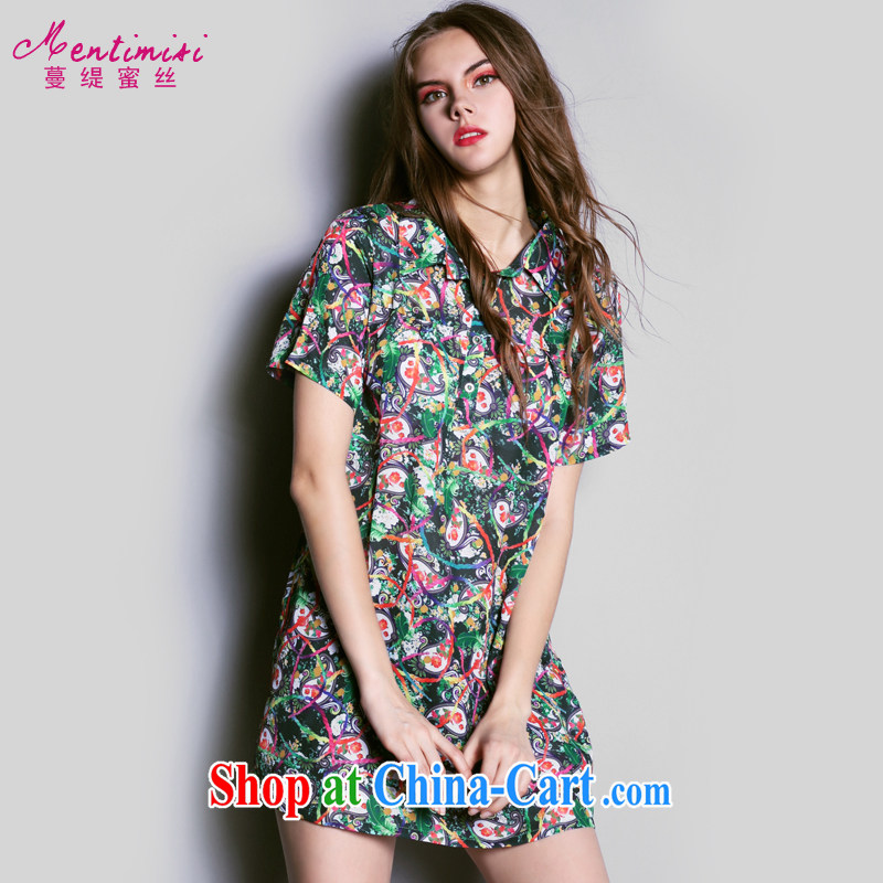 Mephidross economy honey, the European site the Code women's clothing new summer products in Europe and America 2015 sweet shirt, snow-woven dresses S 1618 photo color 5 XL