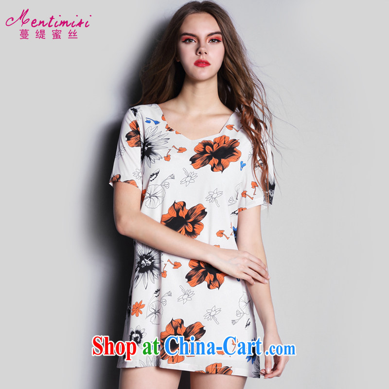 Mephidross economy honey, the European site summer 2015 new European and American sweet stamp the code snow woven dresses skirts skirt S 1612 fancy XXL