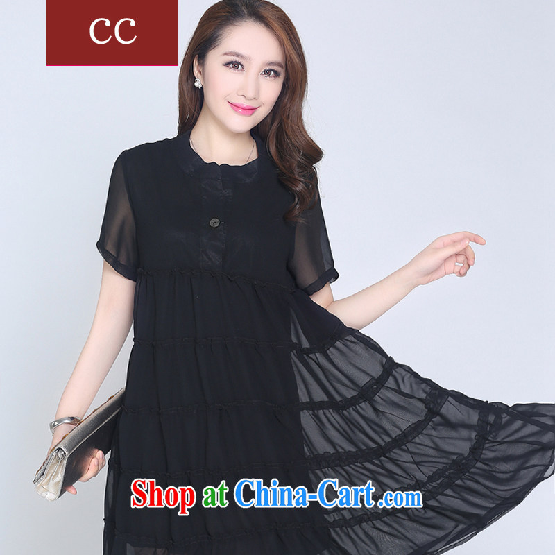 Appeals to appeal for summer 2015 female new short-sleeved XL relaxed dress graphics thin thick snow mm woven shirts middle-aged female summer black XXL