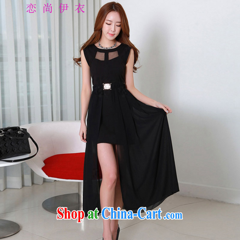 Land is the Yi, female 2015 summer new Korean version of sexy Web yarn thick MM spell series dress the material with removable two through snow woven short-black 4XL