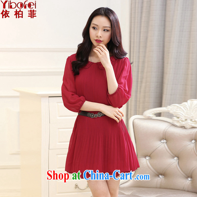 According to perfect summer 2015 new FAT sister and indeed increase code 200 Jack loose video thin 100, snow-woven dresses female Y 2135 cherry red 4 XL