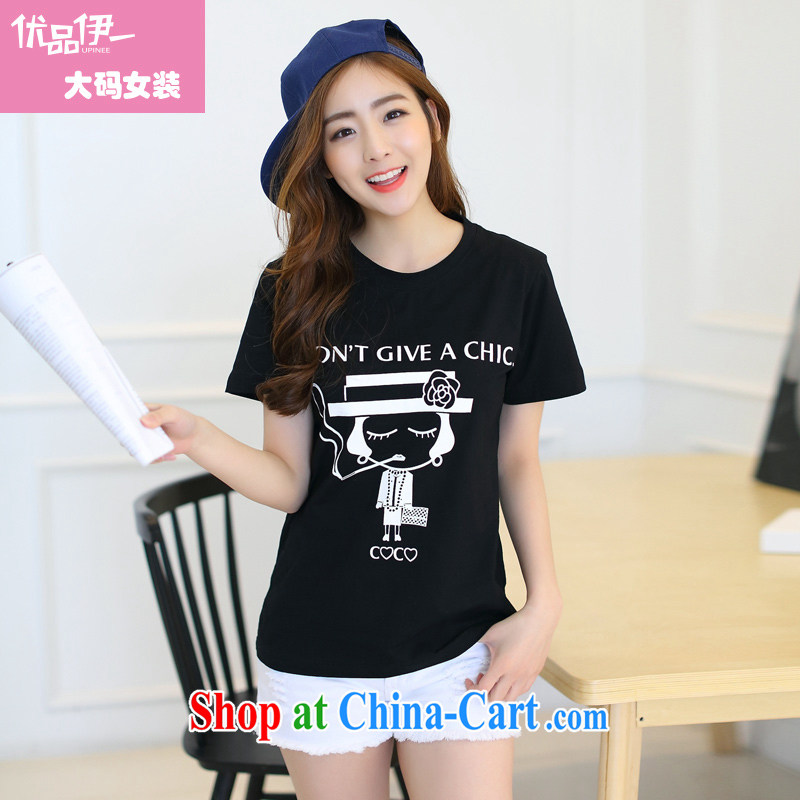 Optimize products, an increase is indeed XL women mm thick 2015 summer stamp graphics thin thick sister leisure short-sleeved T shirt black 4 XL