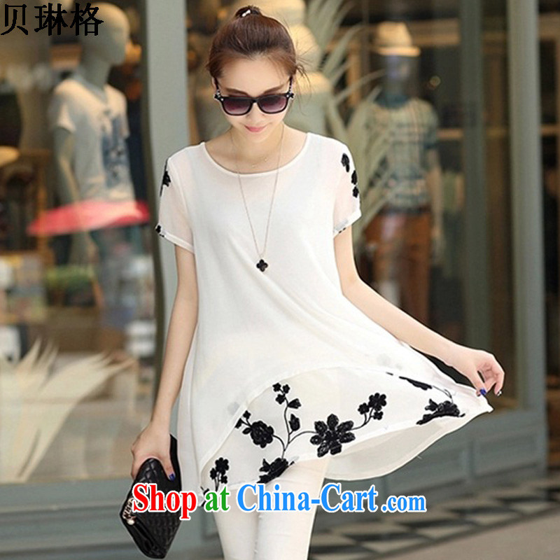 Addis Ababa Lin, summer 2015 new short-sleeved clothes snow woven shirts thick MM larger female dress girls white S
