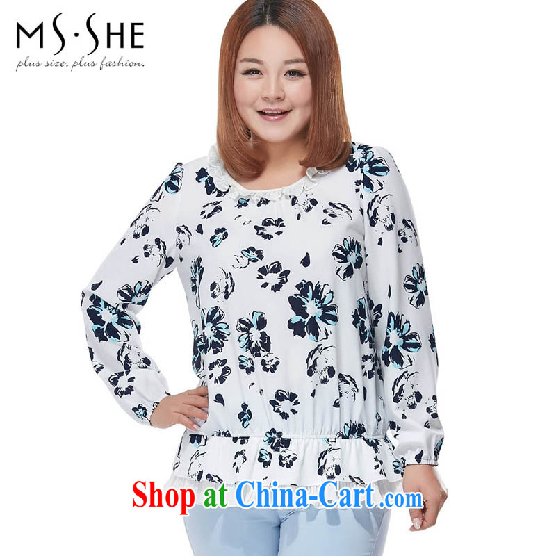 MSSHE XL ladies' 2015 new spring stamp flouncing round-collar long-sleeved snow woven shirts white 2781 stamp duty 6 XL