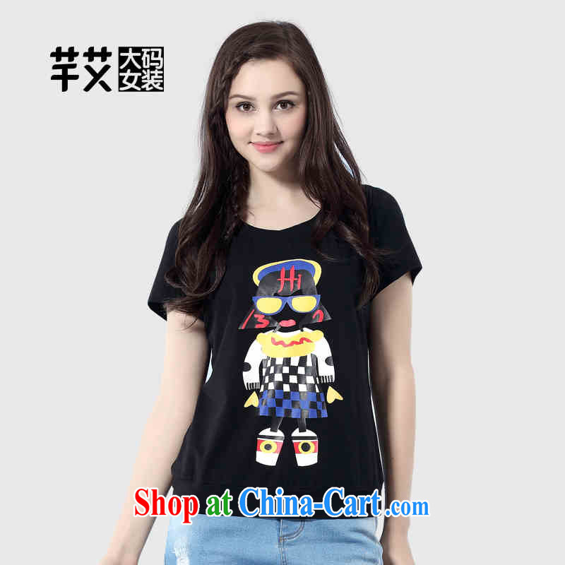 The Constitution is the female 2015 summer new mm thick and fat and cultivating graphics thin stamp short-sleeved T pension 2529 black 138_6 XL