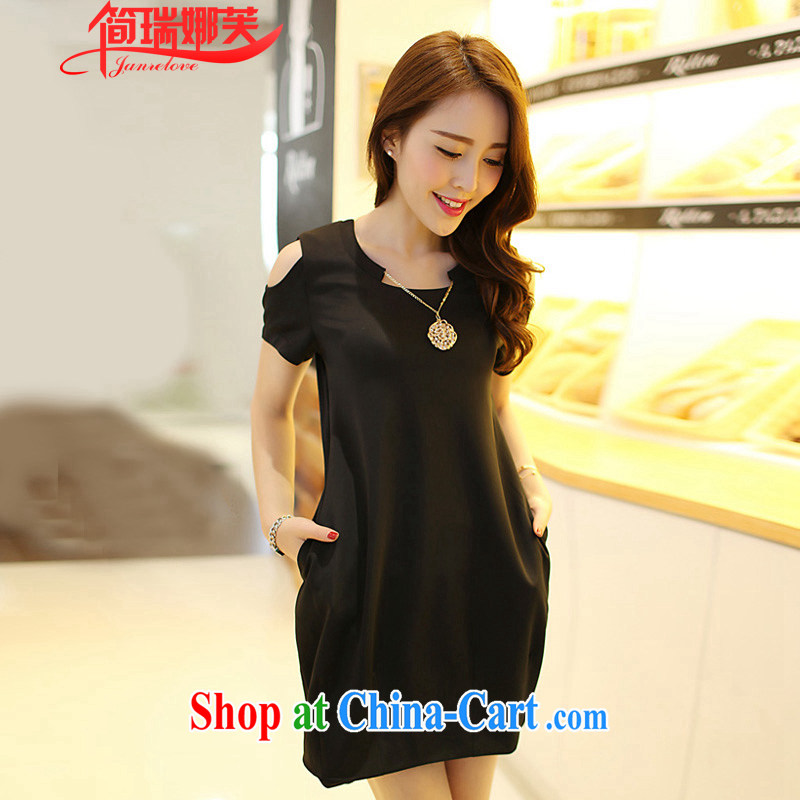 In short, the 2015 will be focused on the MM indeed XL women summer new graphics thin beauty bare shoulders short-sleeved dresses female J 743 black 4XL