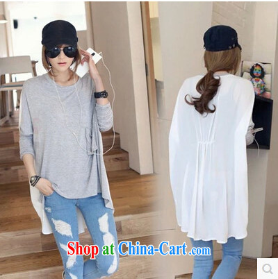 Beibei, 2015 loose the snow version woven stitching T-shirt large gray code are code