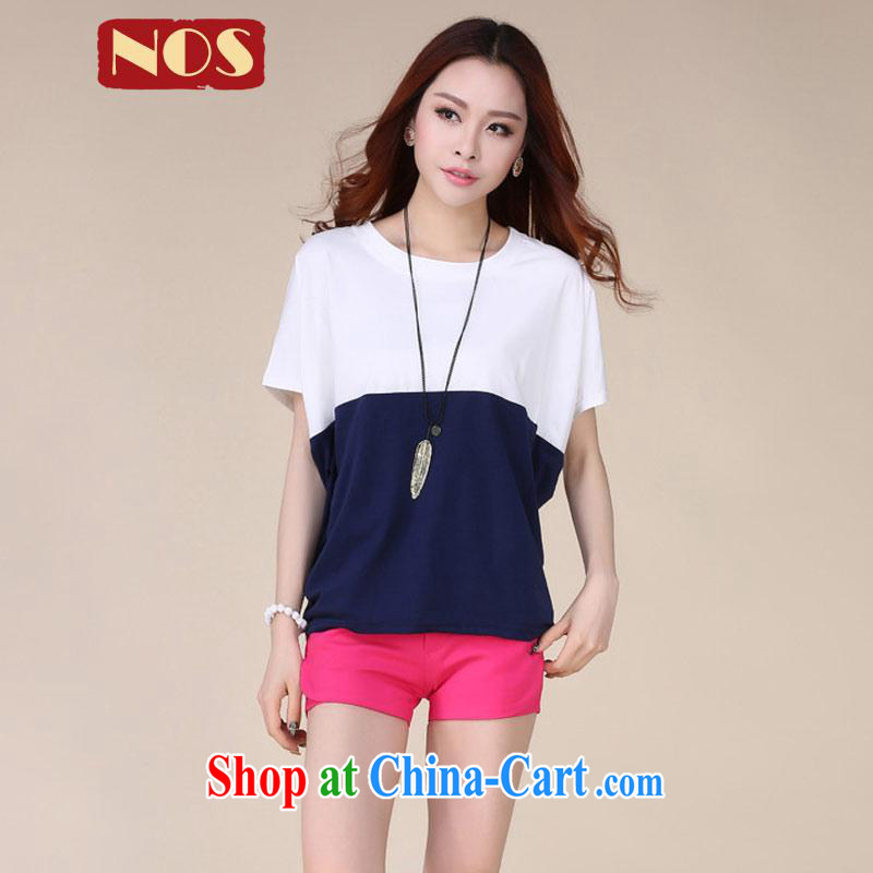 Thin _NOS_ summer King, female loose video thin knocked color Mok, cotton T shirt women T-shirt W 63,581 large blue code 4 XL