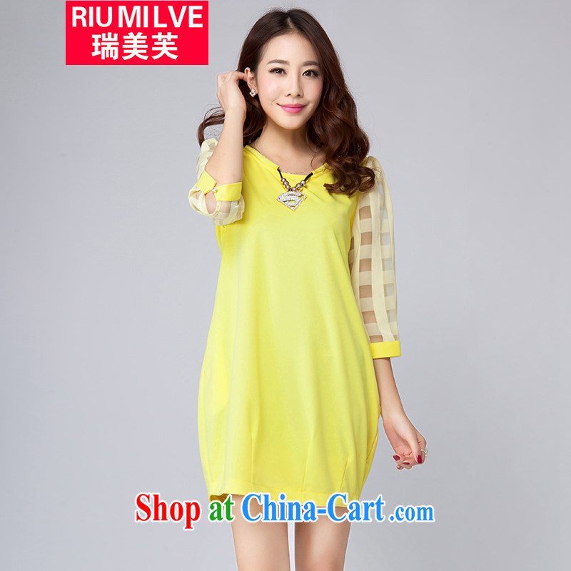 United States, would the Code women 2015 spring and summer new thick MM graphics thin Korean fashion 5 cuff dress beauty W, 2006 yellow 3 XL