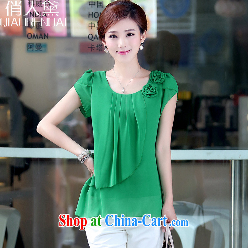 Who is Diana summer in 2015 older larger female loose thick snow mm woven shirt short-sleeved T shirt T-shirt girl green XXXL