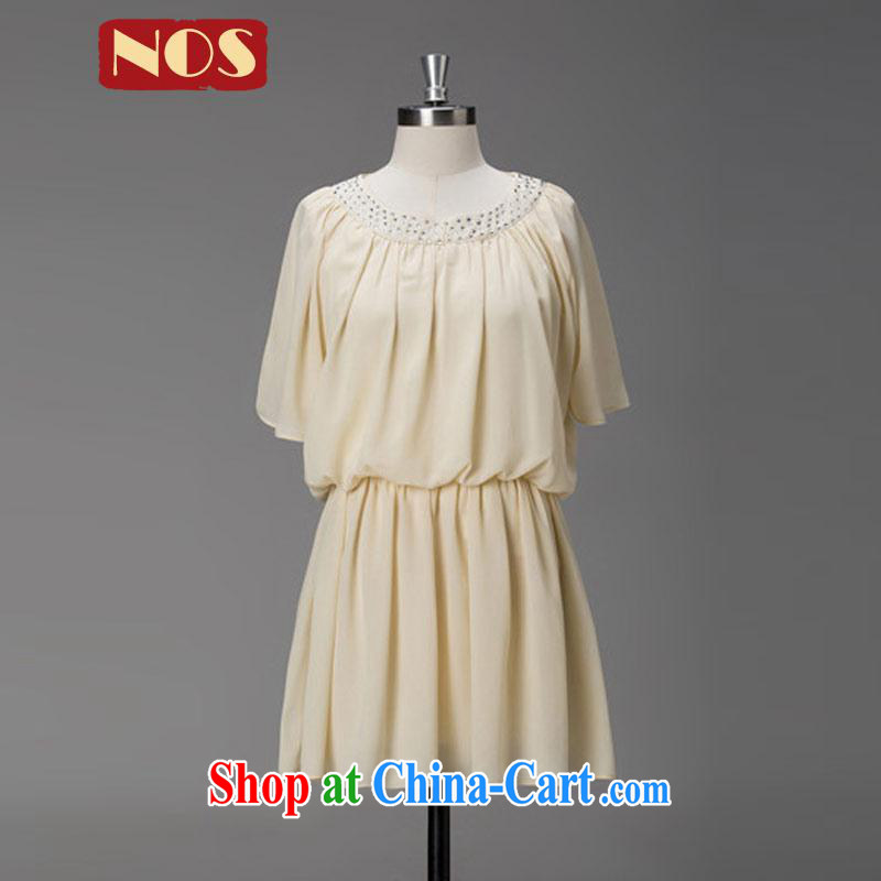 Thin _NOS_ summer the Code women dresses the waist graphics thin stylish wood drill snow woven skirt W 30,271 apricot large code 4 XL
