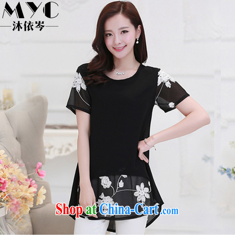 According to MU CEN 2015 summer new Korean short-sleeved clothes snow woven shirts thick MM and indeed XL women stitching embroidery fashion dresses 6609 black XXXL