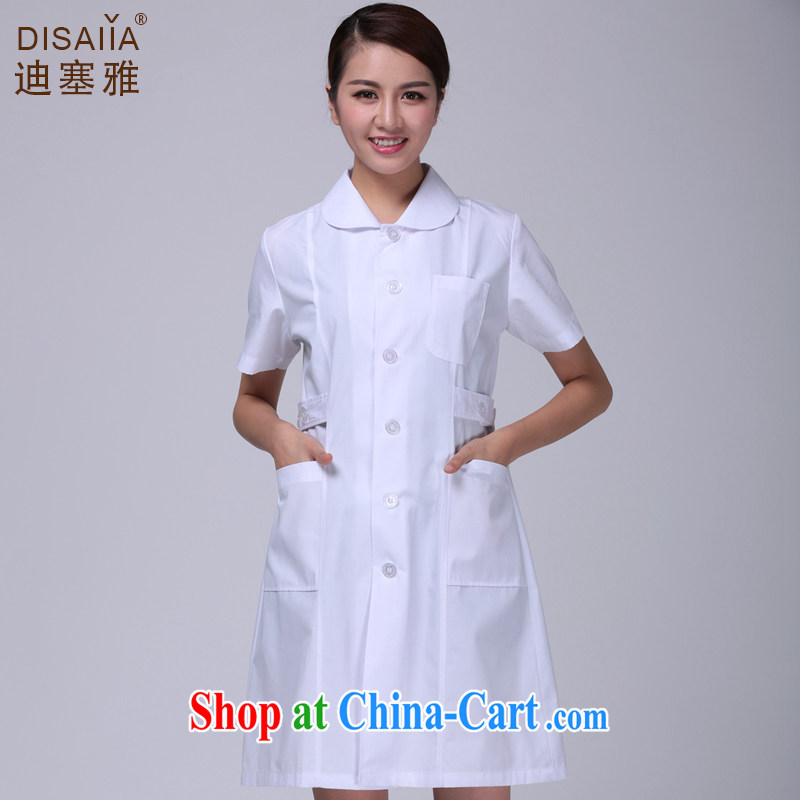 Di Nga summer short-sleeved female doctors serving nurse service internship robes Lab Coat pharmacies uniform white M