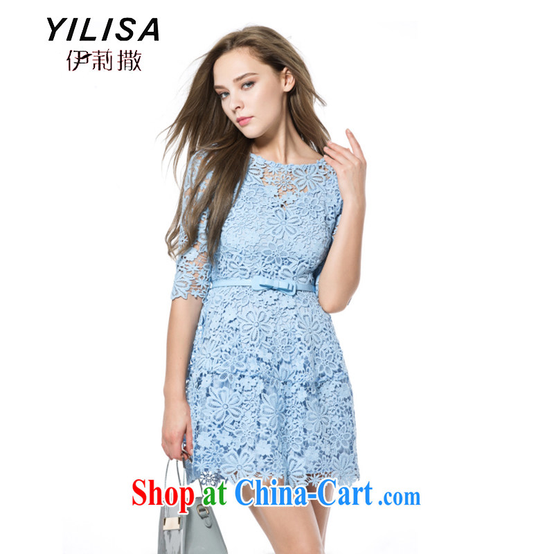 YILISA King Code women 2015 spring and summer with new European and American women spend hook Openwork shaggy is cultivating dresses J 9909 light blue XXXL