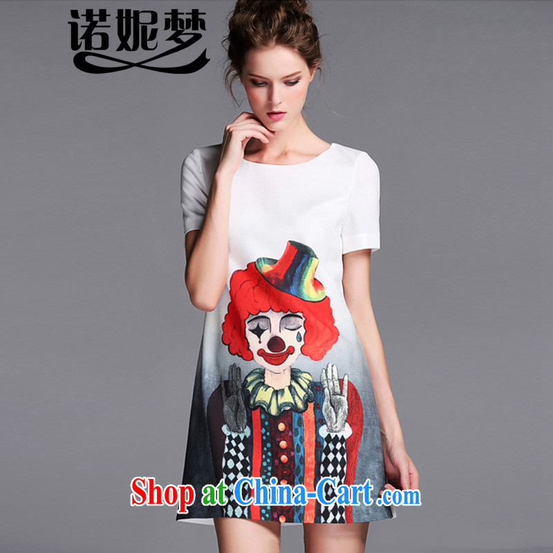 Connie's dream summer 2015 new products in Europe and the original high-end and indeed XL female 200 Jack stylish clown stamp short-sleeved video thin dresses G 036 white XXXXXL