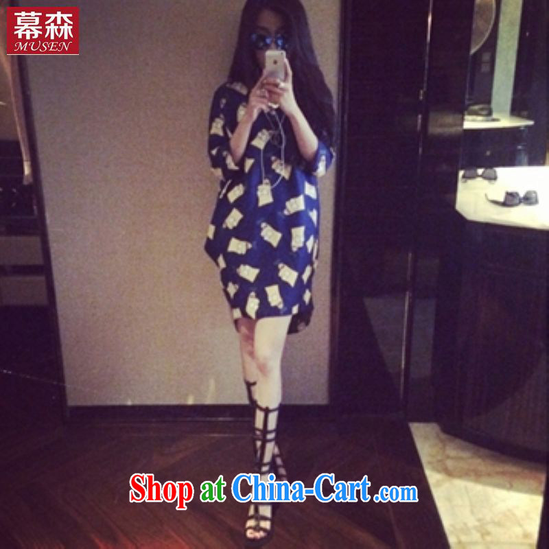 The sum 2015 spring and summer, Korean female loose the code 8 sub-cuff card thick MM graphics thin solid dresses 200 jack to pass through picture color XL