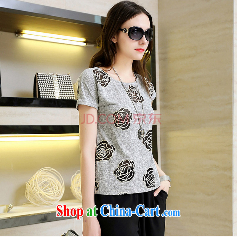 MR HENRY TANG year maximum code female summer new leisure two-piece short-sleeved cotton shirt T thick woman Kit + shorts dark gray + Black shorts/1515 XL 5 185 - 195 jack, Mr Henry Tang, and shopping on the Internet