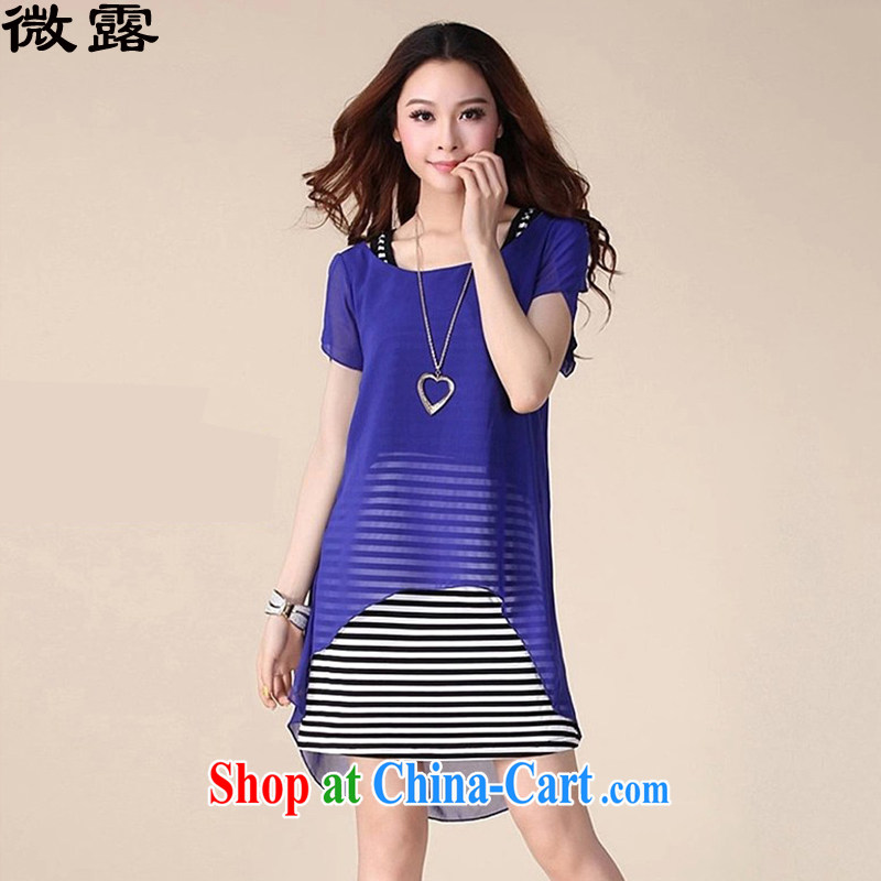 Micro-terrace spring and summer new 2015 Korean version thick MM female striped short-sleeved snow spinning two-piece the code dress 029 blue XXXL
