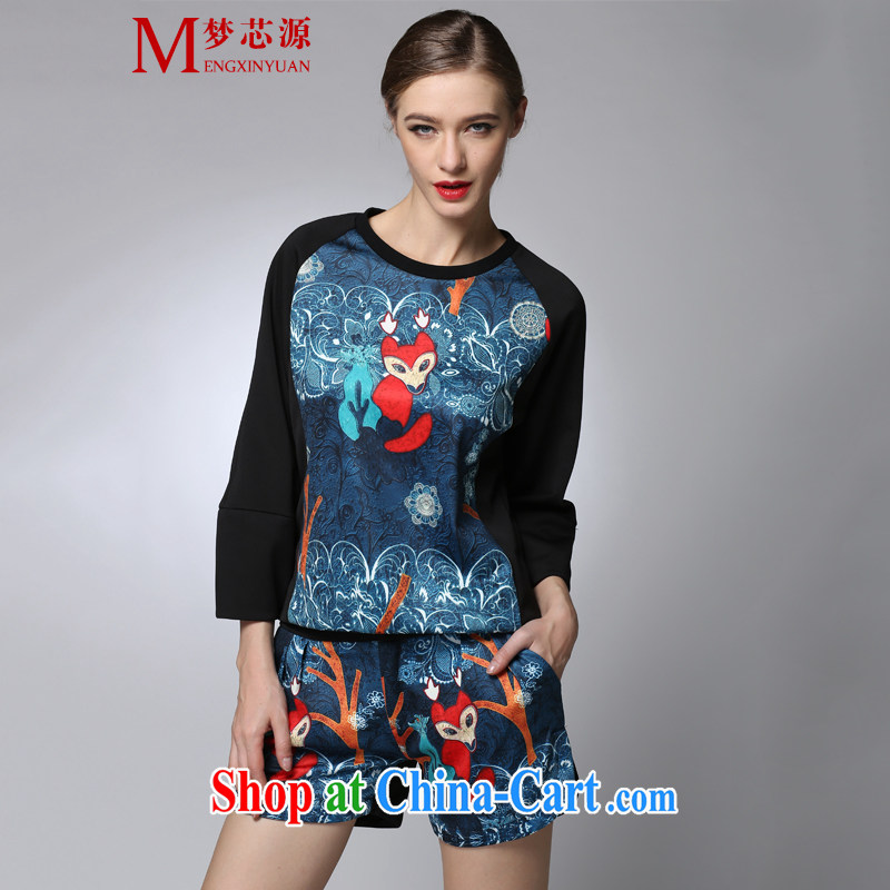 A core source in Europe spring new kit Fox stamp duty T long-sleeved shirts and leisure shorts two piece picture color XXXL