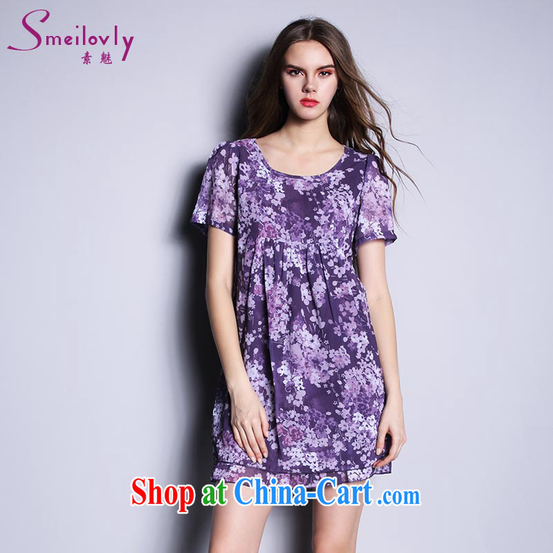 Director of the Europe and the fat XL female thick mm summer 2015 thick sister short-sleeved stamp snow woven dresses, 2615 purple large code XXL 140 Jack left and right