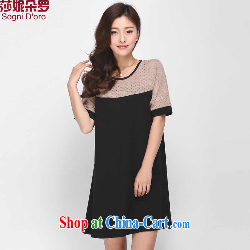 Elizabeth Anne flower, and indeed increase, women with thick mm summer new 2015 round-collar short-sleeve loose dress 1135 black 6 XL