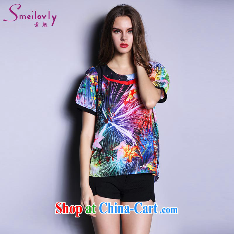 Of 200 staff in Europe and jack on New and indeed increase, female fat MM summer wear thick sister short-sleeved snow woven T Snow woven shirts, 1617 photo color the code 5 XL 200 Jack left and right