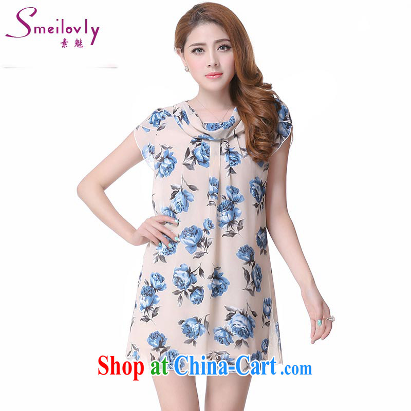 Director of the Europe and the fat XL female thick mm spring loaded 2015 thick sister stamp duty short-sleeved snow woven dresses 2612 large blue code 5 XL