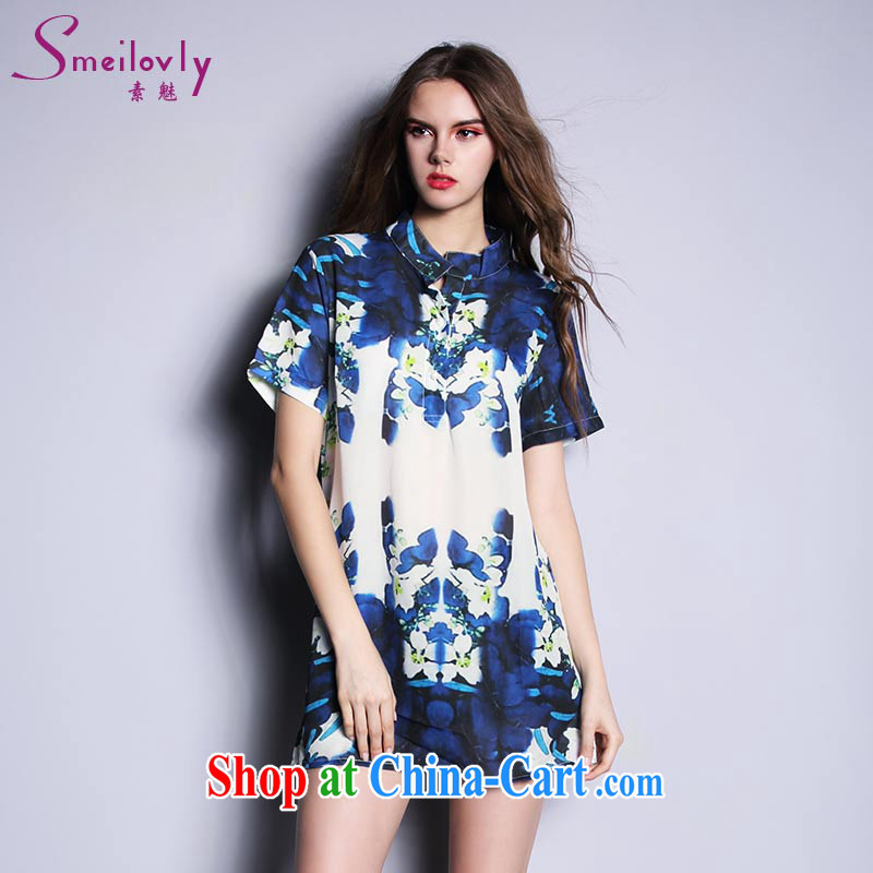 Director of the Europe and the fat increase, female fat mm summer 2015 Korean short-sleeved stamp snow woven shirts and shirt 1639 large blue code 140 XXL about Jack