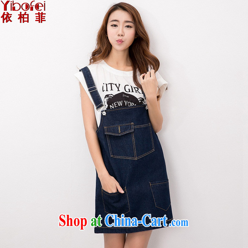 In accordance with perfect summer 2015 new thick mm retro graphics thin large code female loose jeans with dress straps dress Y 2139 dark blue XXXL