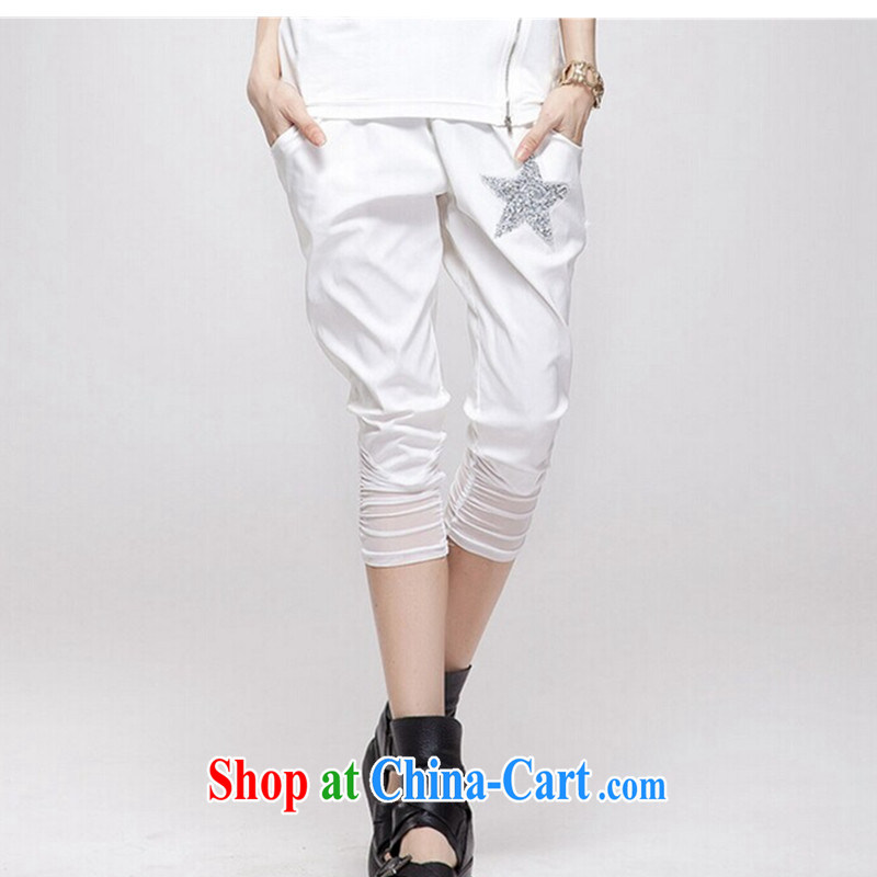 2015 new women with larger female pants thick mm castor pants thick sister leisure video thin stretch 7 pants, trousers castor pants shorts, trousers popular white XXL