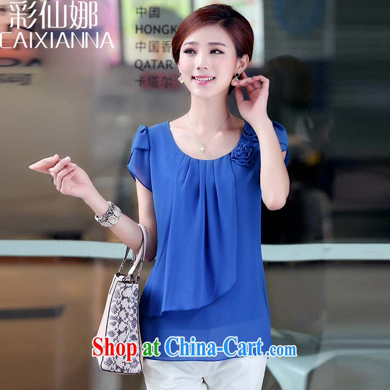 Also, Sin Fat 2015 mm larger female elderly in loose video thin short-sleeve snow woven shirts T shirt T-shirt blue XXL