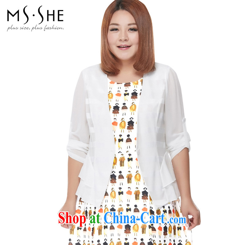 MSSHE XL ladies' 2015 new spring style 100 a kernel for cultivating V collar jacket 2797 white 3XL
