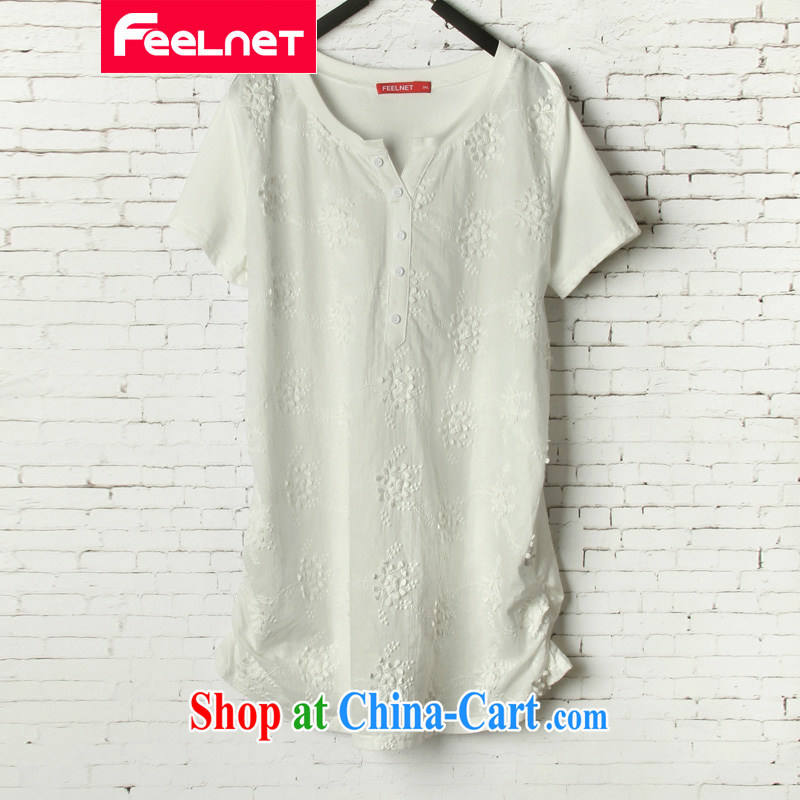 feelnet XL ladies' 2015 summer new thick mm loose video thin Korean leisure short-sleeved T pension 1523 white 44 codes - Recommendation 45 - 80 kg
