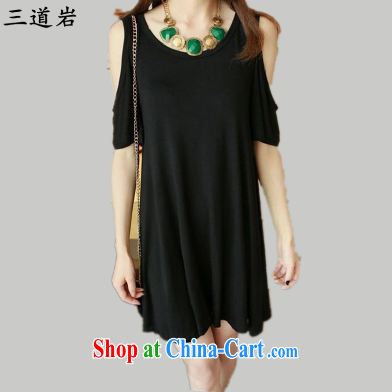 3 rock 2015 summer thick MM Mok, stretch round-collar short-sleeve in Europe and America, the sense of your shoulders female dresses DM 9008 black large code XXL