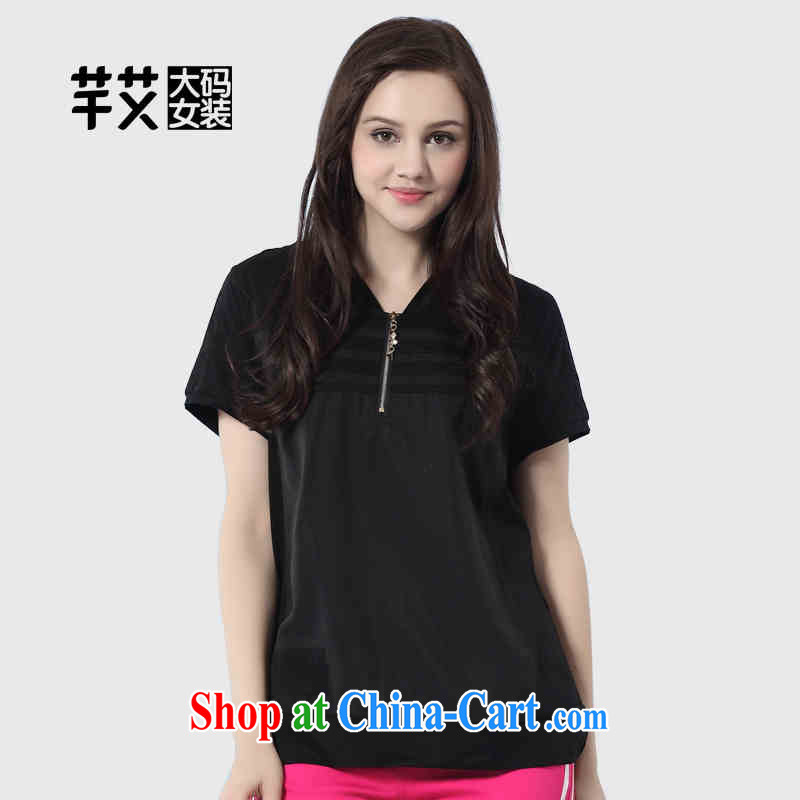 Constitution the larger female 2015 spring new mm thick solid color V collar graphics thin-Cap Head T pension 2362 black 128_5 XL