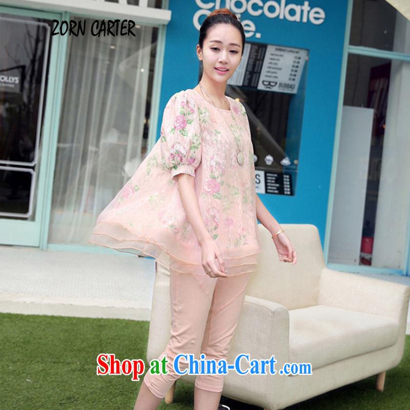 ZornCarter summer 2015 Korean version of the new, large, modern European root yarn snow woven T-shirt + pants Kit 351 pink XXL