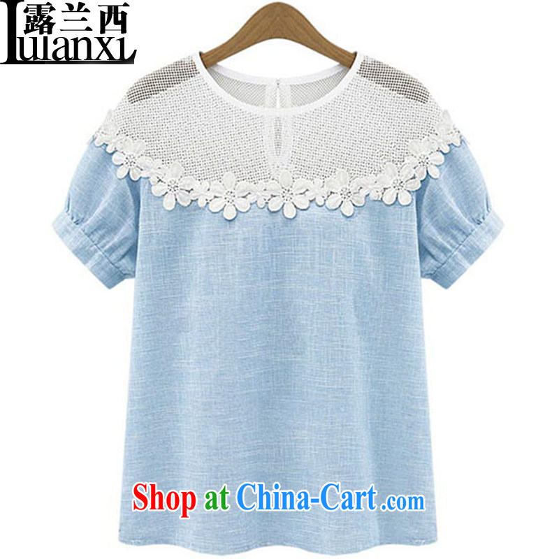Terrace, Western Europe and the United States, the female Openwork lace current forwarding cotton loose the short-sleeved T shirts, T-shirt solid spring and summer, blue 5 XL 180 - 200 Jack left and right