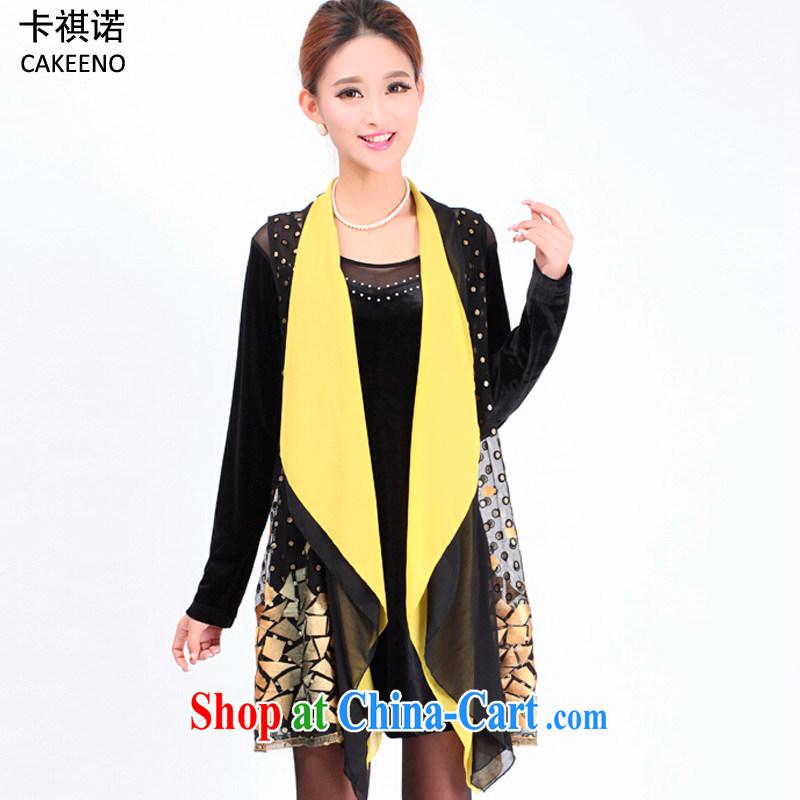 The KEI _cakeeno_ 2015 spring new larger women in long wind jacket women 8355 yellow XXXXL