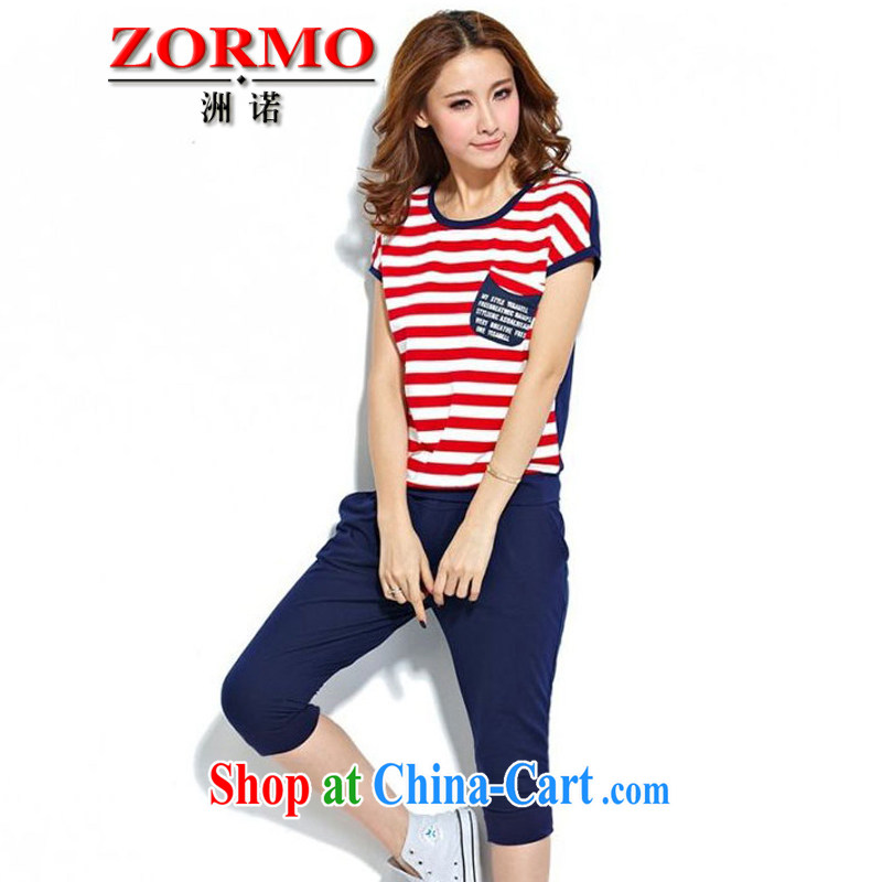 ZORMO 2015 summer new larger campaign kit stripes T-shirt + 7 pants and indeed increase leisure suite royal blue 5 XL